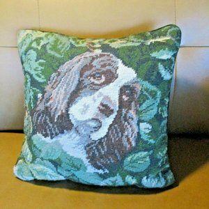 Cocker Spaniel Dog Needlepoint Pillow